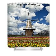 The Dezwaan Dutch Windmill Among The Tulips On Windmill Island In Holland Michigan Shower Curtain