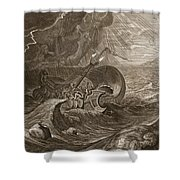 The Dioscuri Protect A Ship, 1731 Shower Curtain by Bernard Picart
