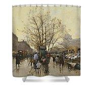 The Docks Of Paris Les Quais A Paris Shower Curtain by Eugene Galien-Laloue