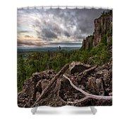 the Dorion Pinnacles Shower Curtain