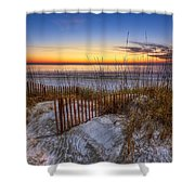 The Dunes At Sunset Shower Curtain by Debra and Dave Vanderlaan
