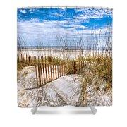 The Dunes Shower Curtain by Debra and Dave Vanderlaan