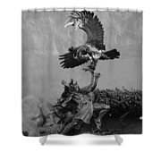 The Eagle And The Indian In Black And White Shower Curtain