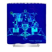 The Eagle Apollo Lunar Module In Blue Shower Curtain
