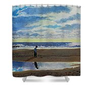 The Early Fisherman Shower Curtain