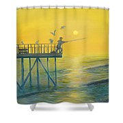 The Early Rod Takes The Cod Shower Curtain