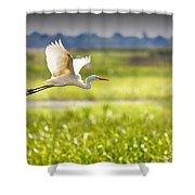 The Egret In Flight Series V3 Shower Curtain