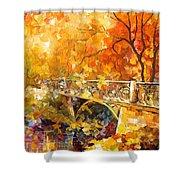 The Embassay Of Autumn - Palette Knife Oil Painting On Canvas By Leonid Afremov Shower Curtain