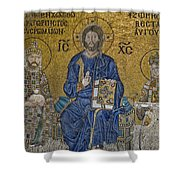 The Empress Zoe Mosaics On The Eastern Wall Of The Southern Gallery In Hagia Sophia  Shower Curtain by Ayhan Altun