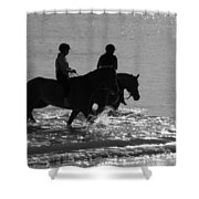 The Equestrians-silhouette V2 Shower Curtain