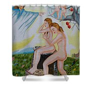 The Expulsion Hand Embroidery Shower Curtain by To-Tam Gerwe