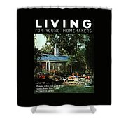 The Exterior Of A House And Patio Furniture Shower Curtain