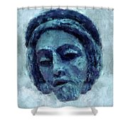The Face Of Blue Shower Curtain