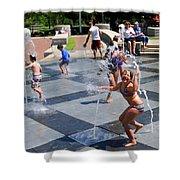 Joyful Young Girl Playing In Fountain Shower Curtain