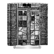 The Factory Window Bw Shower Curtain