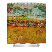 The Farmland Oil On Canvas Shower Curtain