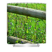 The Fence At The Meadow Shower Curtain