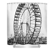 The Ferris Wheel At The Worlds Columbian Exposition Of 1893 In Chicago Bw Photo Shower Curtain