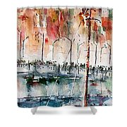 The Ferry Arrives At Galata Port - Istanbul Shower Curtain