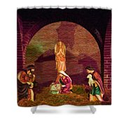 The First Christmas - Greeting Card Shower Curtain