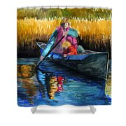 The First Mate Shower Curtain by Lenore Gaudet