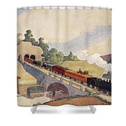 The First Paris To Rouen Railway, Copy Shower Curtain by French School