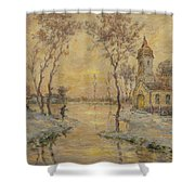 The Fishermens Chapel Under Snow Shower Curtain