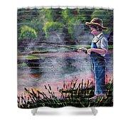 The Fishing Boy Shower Curtain