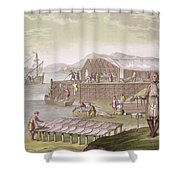 The Fishing Industry In Newfoundland Shower Curtain by G Bramati