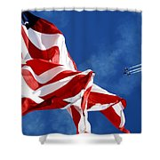 The Flag And The Blue Angels Shower Curtain