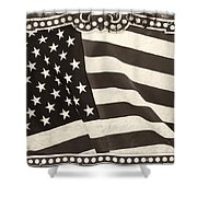 The Flag Bw Shower Curtain
