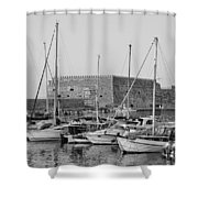 The Fortress And The Port In Iraklio City Shower Curtain