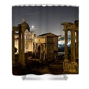 The Forum Temples At Night Shower Curtain