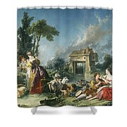 The Fountain Of Love Shower Curtain