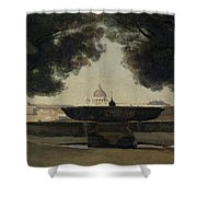 The Fountain Of The French Academy In Rome, 1826-27 Oil On Canvas Shower Curtain