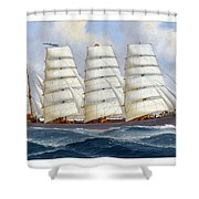 The Four-masted Barque Cedarbank At Sea Under Full Sail Shower Curtain