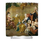 The Franqueville Family, 1711 Oil On Canvas Shower Curtain