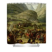 The French Army Travelling Over The St. Bernard Pass At Bourg St. Pierre, 20th May 1800, 1806 Oil Shower Curtain