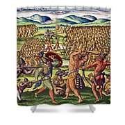 The French Help The Indians In Battle Shower Curtain