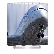 The Front Office Lufthansa Airbus A-380 Shower Curtain