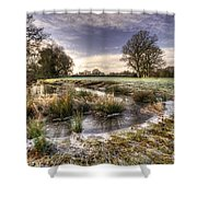 the  Frosty Field  Shower Curtain