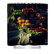 The Fruit Seller - New York City Street Scene Shower Curtain