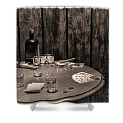 The Gambling Table Shower Curtain by Olivier Le Queinec
