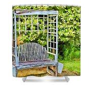 The Garden Bench In Spring  Shower Curtain
