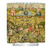 The Garden Of Earthly Delights Allegory Of Luxury, Central Panel Of Triptych, C.1500 Oil On Panel Shower Curtain