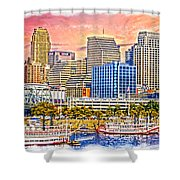 The Garish City Cincinnati Shower Curtain