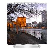 The Gates - Central Park New York - Harlem Meer Shower Curtain by Gary Heller