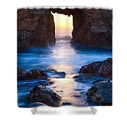 The Gateway - Sunset On Arch Rock In Pfeiffer Beach Big Sur In California. Shower Curtain by Jamie Pham