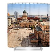 The Gendarmenmarkt And German Cathedral In Berlin Shower Curtain