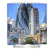 The Gherkin And Tower Bridge Shower Curtain
